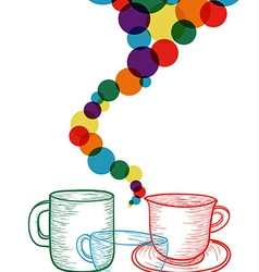 Colorful coffee set concept vector image vector image