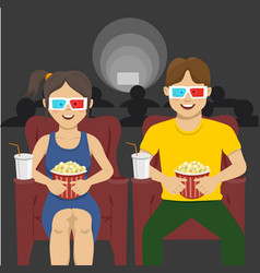 Couple sitting in movie theater watching 3d movie vector