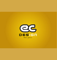 ec e c alphabet letter combination digit white on vector image vector image