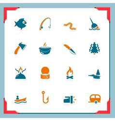 fishing icons - in a frame series vector image vector image
