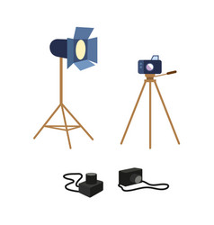 Flat professional photo equipment set vector