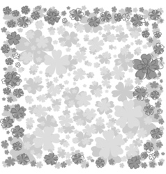 Floral frame with gray flowers on white background vector