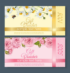 Flower gift vouchers vector