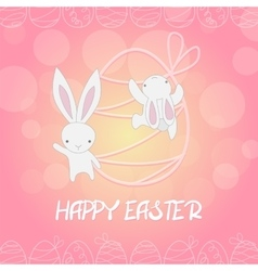 Funny bunny climbing on easter egg vector