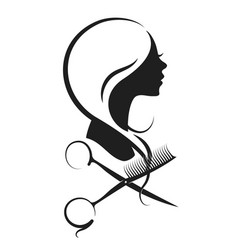 girl and scissors silhouette vector image