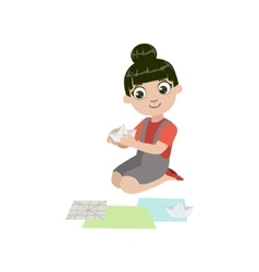 Girl doing paper origami boat vector