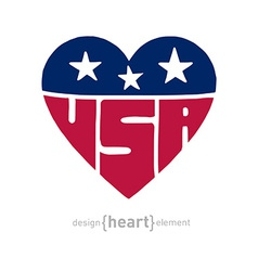 heart with american flag colors symbols and vector image