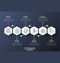 Infographic design template with 6 hexagons vector