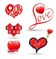 Love heart collection vector image vector image