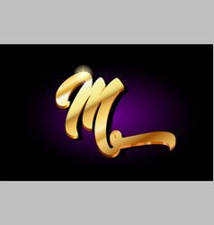 M alphabet letter golden 3d logo icon design vector