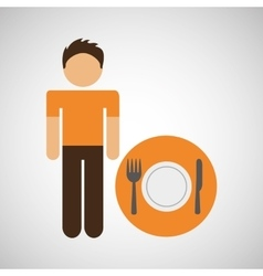 male character traveler restaurant meal icon vector image