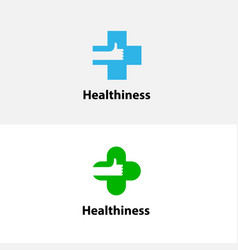medical cross amp hand iconmedical center logo vector image vector image