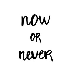 Now or never - hand drawn brush text handmade vector