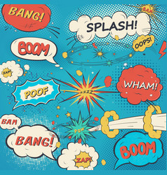 Pattern comic speech bubbles in pop art style vector