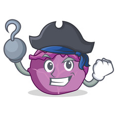Pirate red cabbage character cartoon vector