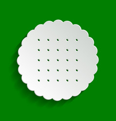 Round biscuit sign paper whitish icon vector