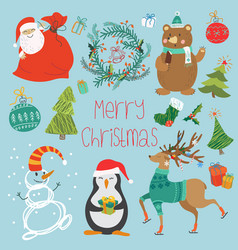 Set of animals santa claus vector