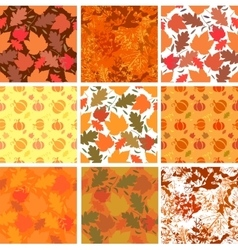 Set of seamless autmn backgrounds vector