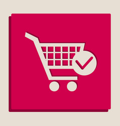 shopping cart with check mark sign vector image