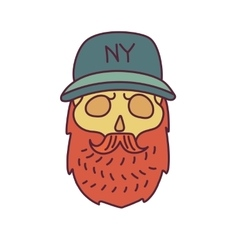 Skull with hipster mustachecap and beards vector