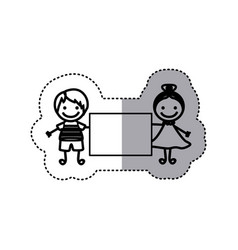 Sticker sketch silhouette caricature couple boy vector