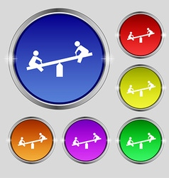 Swing icon sign round symbol on bright colourful vector