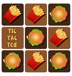 Tic-tac-toe of hamburger and fried potatoes vector