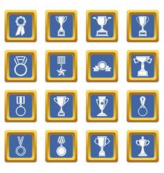 trophy icons set blue vector image
