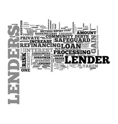 what do lenders gain text word cloud concept vector image