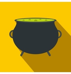 Witch cauldron with green potion flat vector