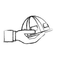 worker helmet cartoon vector image