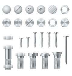 Screws bolts nuts nails and rivets realistic vector