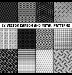 12 carbon and metal patterns vector image