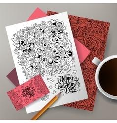 Cartoon cute colorful hand drawn doodles vector
