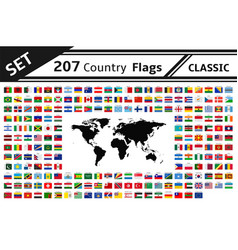set 207 country flags and world map vector image
