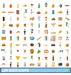 100 beer icons set cartoon style vector