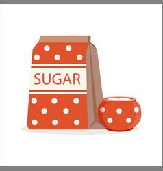 Red dotted pack of sugar and sugar bowl vector
