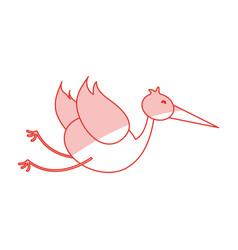 Flat line stork design vector