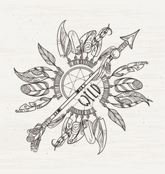 Tribal poster with dreamcatchers arrows and indian vector