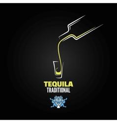 tequila shot bottle glass menu design background vector image