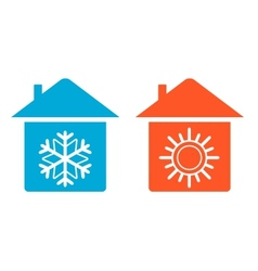 Set warm and cold in home icon vector