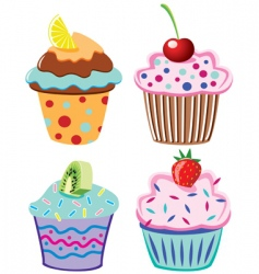 Cupcakes with fruits vector