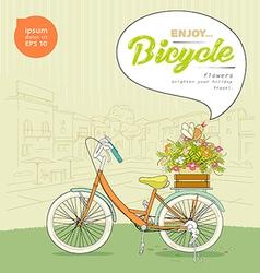 Enjoy Bicycle flower design background vector image