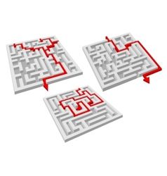 Labyrinth puzzles with arrow solutions vector