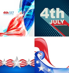 Creative set of american flag design of 4th july vector