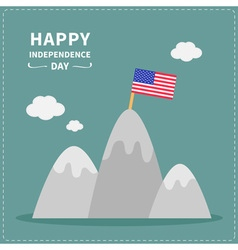 Mountain and flag independence day vector