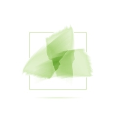 Three green watercolor brush strokes abstract eco vector
