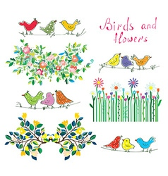 Floral design elements and birds set vector image