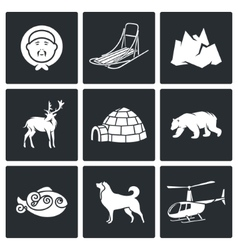Population and fauna of the north icons set vector