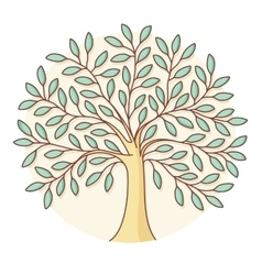 Icon of green tree in circle background colorful vector